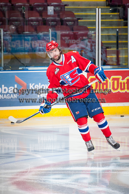 KELOWNA, CANADA - MARCH 7: Riley Whittingham #25 of Spokane Chiefs warms up against the Kelowna Rockets on March 7, 2015 at Prospera Place in Kelowna, British Columbia, Canada.  (Photo by Marissa Baecker/Shoot the Breeze)  *** Local Caption *** Riley Whittingham;