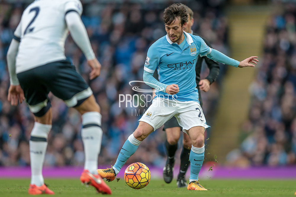 David Silva (Manchester City) during the Barclays Premier League match between Manchester City and Tottenham Hotspur at the Etihad Stadium, Manchester, England on 14 February 2016. Photo by Mark P Doherty.