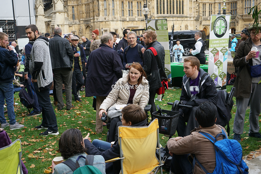 House of Parliament. London, UK. 10th October, 2017. United Patients Alliance hold a Patients at Parliament Protest invite members of the public for a tea and cakes contained cannabis at Parliament yard. during Parliament first bid to legalize the drug for medicinal purposes.