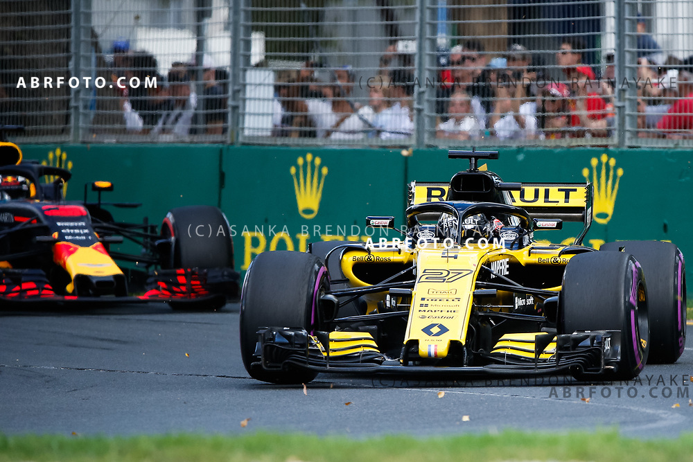 Renault driver Nico Hulkenberg of Germany during the 2018 Rolex Formula 1 Australian Grand Prix at Albert Park, Melbourne, Australia, March 24, 2018.  Asanka Brendon Ratnayake