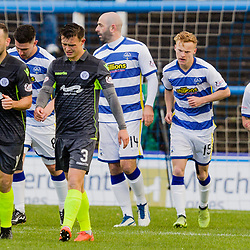 Gary Harkins (14) of Greenock Morton is mobbed by his team mates after opening the scoring from the spot during the Ladbrokes Scottish Championship game between Greenock Morton and Queen of the South at Cappielow Park on 4th November 2017 in Greenock, Scotland.   (c) BERNIE CLARK | SportPix.org.uk