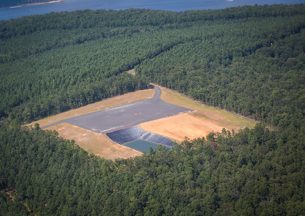 Fracking industry site next to the Greer Ferry Lake in Quitman. Arkansas in the Fayetteville Shale region.