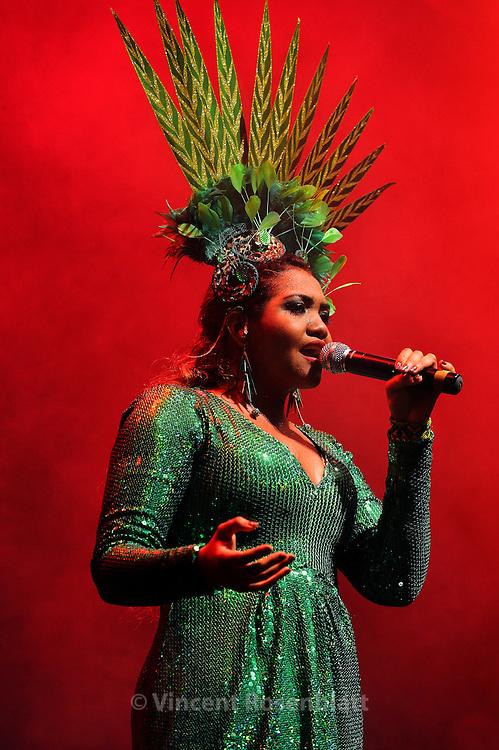 Gaby Amarantos, Tecnobrega diva, performing with her band at the Circo Voador in Rio de Janeiro, 2012.