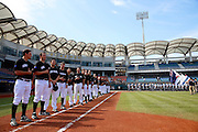 NEW TAIPEI CITY, TAIWAN - NOVEMBER 16:  Players are seen on the base paths during the playing of the national anthems before Game 3 of the 2013 World Baseball Classic Qualifier between Team New Zealand and Team Thailand at Xinzhuang Stadium in New Taipei City, Taiwan on Friday, November 1, 2012. Photo by Yuki Taguchi/WBCI/MLB Photos