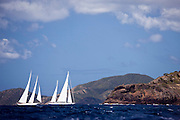 Timoneer and Windrose sailing in the Antigua Superyacht Challenge, race two.