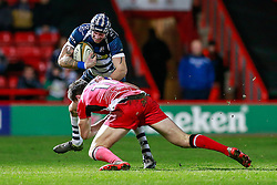 Bristol Rugby Winger Ryan Edwards is tackled by Ulster A Winger Jacob Stockdale - Mandatory byline: Rogan Thomson/JMP - 22/01/2016 - RUGBY UNION - Ashton Gate Stadium - Bristol, England - Bristol Rugby v Ulster A - British & Irish Cup.