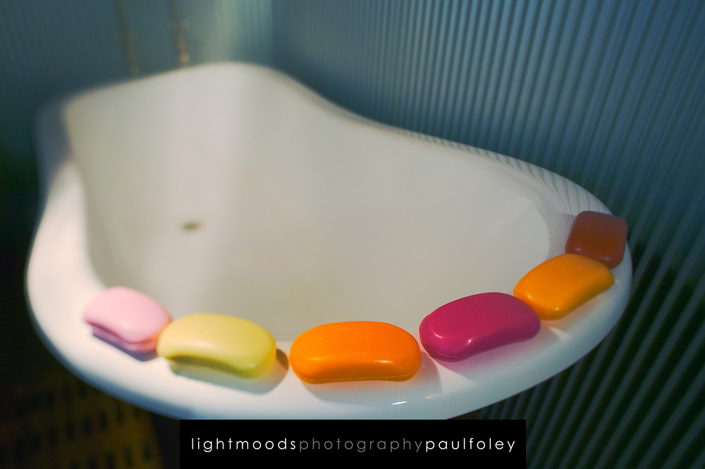 Old style bath with coloured soap