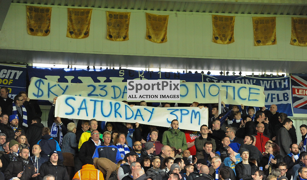 Leicester fans protesting at late fixture changes due to Sky coverage (c) Simon Kimber | SportPix.org.uk