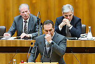 Leader of the parliamentary group FPOe Heinz Christian Strache speaks during a presentation of the new foreign minister and tightening of asylum law at Austrian Parliament Building, Innere Stadt<br /> Picture by EXPA Pictures/Focus Images Ltd 07814482222<br /> 27/04/2016<br /> ***UK &amp; IRELAND ONLY***