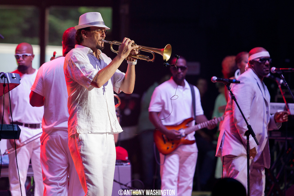 Chuck Brown's band performs with guest during the Summer Spirit Festival at Merriweather Pavilion on Saturday, August 4, 2012 in Columbia, MD.