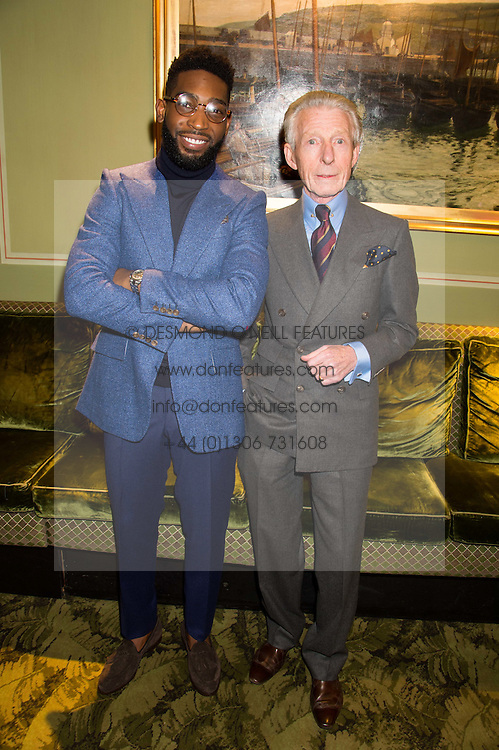 Left to right, TINIE TEMPAH and EDWARD SEXTON at a cocktail reception hosted by the Woolmark Company, Pierre Lagrange and the Savile Row Bespoke Association to celebrate 'The Ambassador's Project' for London Collections Mens at Marks Club, Charles street, London on 8th January 2016.
