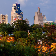 Panoramic photography of the downtown Kansas City, Missouri skyline at dusk, taken from Observation Park.