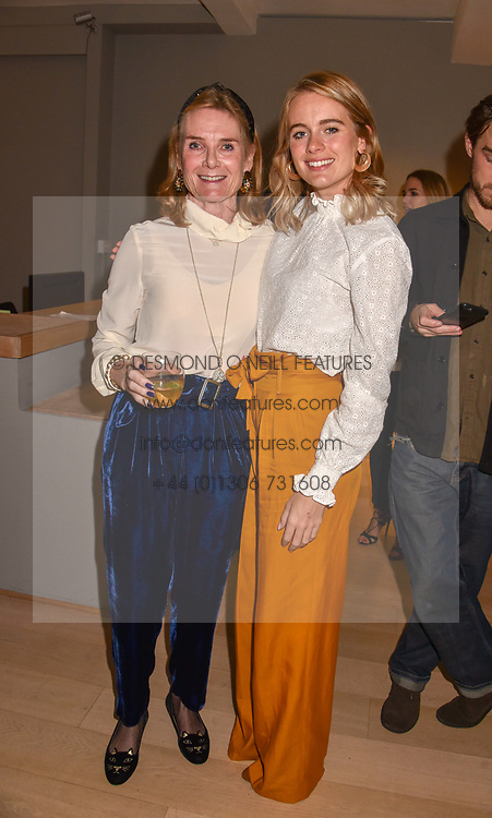 Lady Mary-Gaye Curzon and her daughter Cressida Bonas at a private view of recent work by Georgiana Anstruther held at the Sladmore Gallery, 32 Bruton Place, London England. 08 November 2018. <br /> <br /> ***For fees please contact us prior to publication***