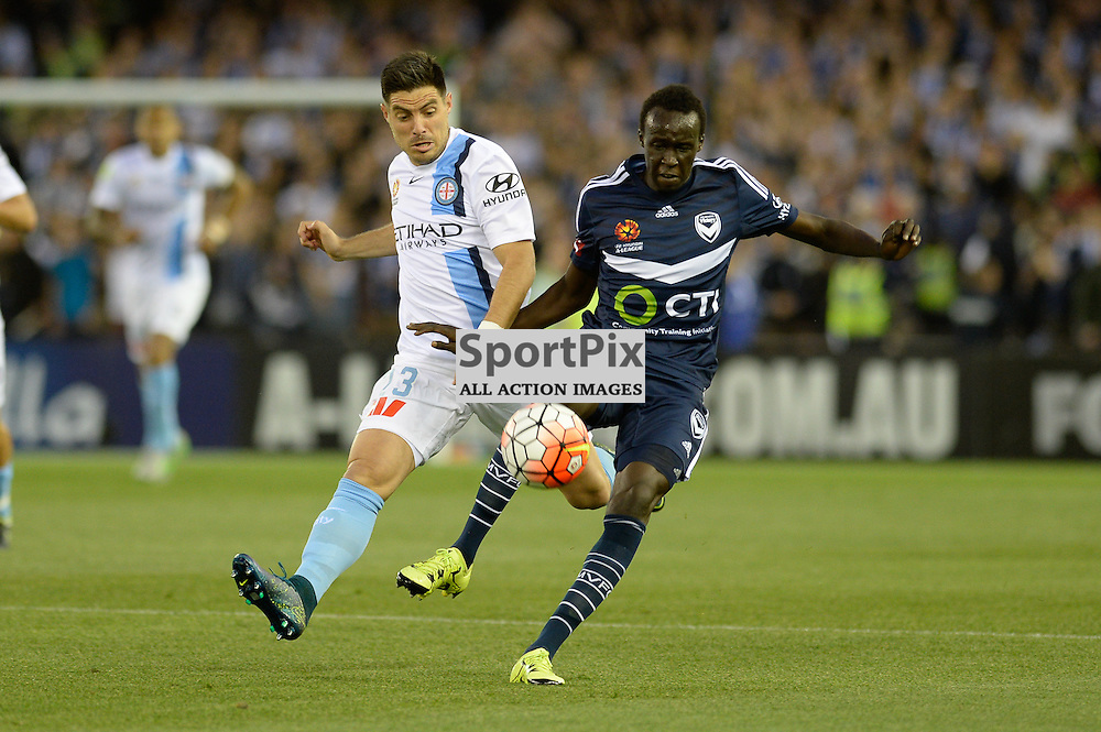 """Bruno Fornaroli of Melbourne City, Thomas Deng of Melbourne Victory - Hyundai A-League - October 17th 2015 - ROUND 2- Melbourne Victory FC v Melbourne City FC in the first derby for the 2015 season with a 3:2 win to Victory on the 90"""" - © Mark Avellino 