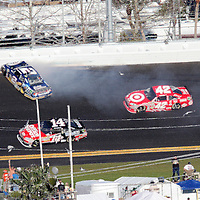 Sprint Cup Series driver Brad Keselowski (2) spins on the backstretch during the Daytona 500 at Daytona International Speedway on February 20, 2011 in Daytona Beach, Florida. (AP Photo/Alex Menendez)