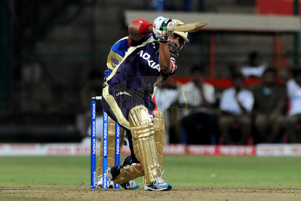 Gautam Gambhir captain of Kolkata Knight Riders bats during match 10 of the NOKIA Champions League T20 ( CLT20 )between the Royal Challengers Bangalore and the Kolkata Knight Riders held at the  M.Chinnaswamy Stadium in Bangalore , Karnataka, India on the 29th September 2011..Photo by Pal Pillai/BCCI/SPORTZPICS