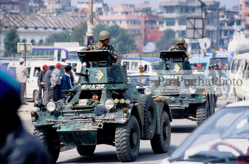 Royal Nepal Armyr's vehicles on the streets of Kathmandu