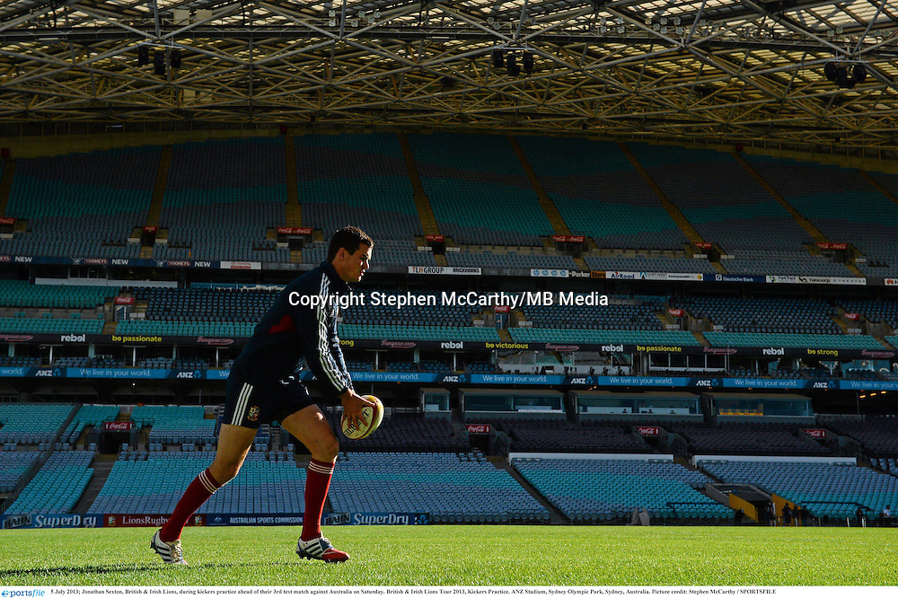 5 July 2013; Jonathan Sexton, British & Irish Lions, during kickers practice ahead of their 3rd test match against Australia on Saturday. British & Irish Lions Tour 2013, Kickers Practice. ANZ Stadium, Sydney Olympic Park, Sydney, Australia. Picture credit: Stephen McCarthy / SPORTSFILE