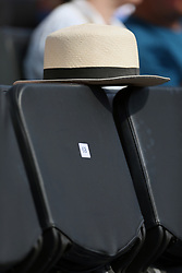 A general view of a hat left on a seat in the stands during day three of the 2017 AEGON Championships at The Queen's Club, London. PRESS ASSOCIATION Photo. Picture date: Wednesday June 21, 2017. See PA story TENNIS Queens. Photo credit should read: Steven Paston/PA Wire. RESTRICTIONS: Editorial use only, no commercial use without prior permission.