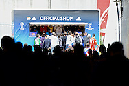 General view showing fans arriving at the stadium through an entrance tunnel leading to the Official Shop pictured ahead of the UEFA Champions League Final at Estádio da Luz, Lisbon<br /> Picture by Ian Wadkins/Focus Images Ltd +44 7877 568959<br /> 24/05/2014