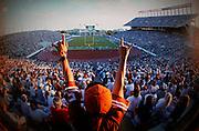 North end zone, Memorial Stadium ( now Darrell K. Royal-Texas Memorial Stadium ) in Austin, Texas. September 1995. Photograph © 1995 Darren Carroll.