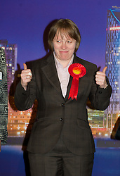 LIVERPOOL, ENGLAND - Friday, May 7, 2010: Labour's Maria Eagle celebrates her victory in the Liverpool Garston & Halewood seat with a vote of 25,493, a majority of 16,877, during the count for the General Election 2010 at the Wavertree Tennis Centre. (Photo by David Rawcliffe/Propaganda)