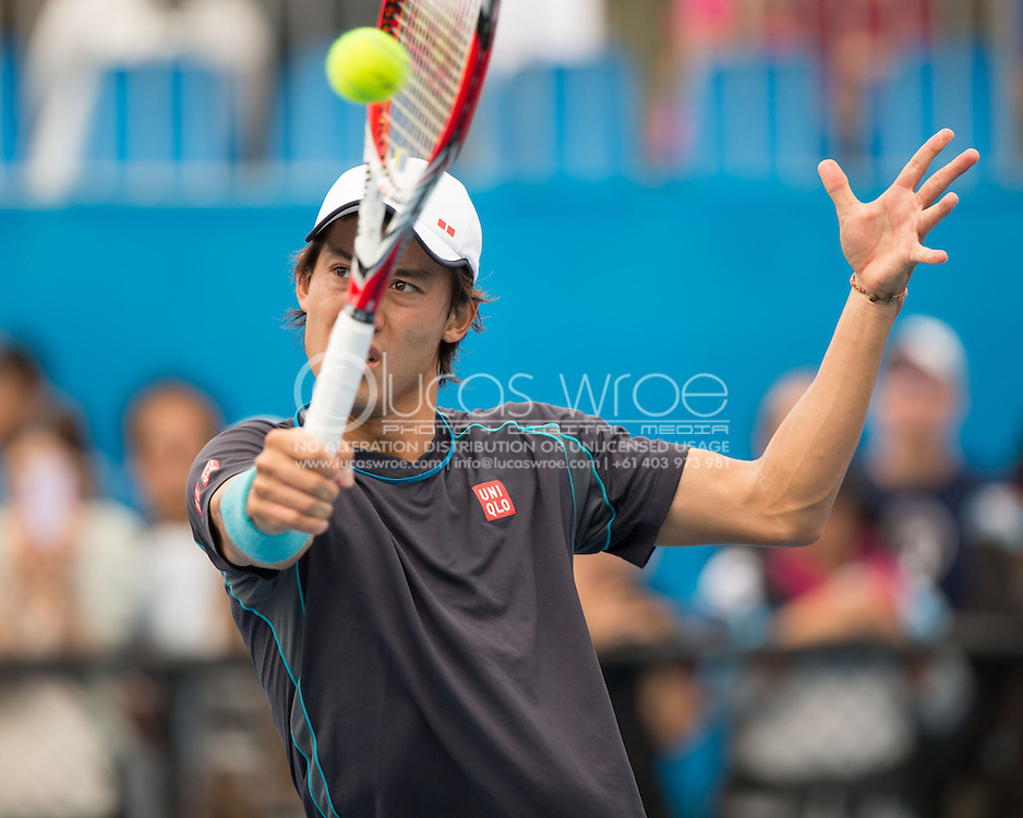Kei Nishikori (JPN), JANUARY 19, 2014 - Tennis :  Kei Nishikori practices in preparation for his forth round match at the Australian Open Tennis Championship. Melbourne Park, Melbourne, Victoria, Australia. Photo By Lucas Wroe