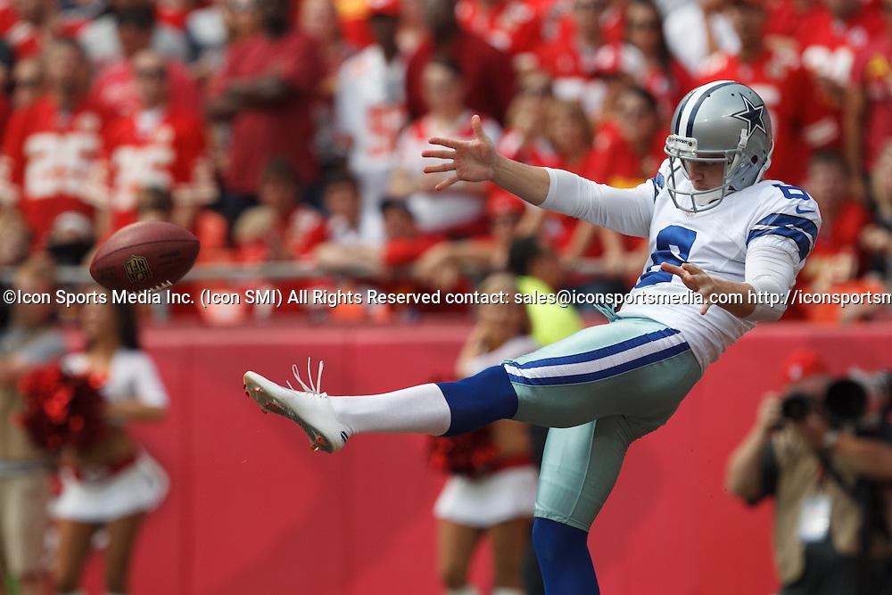 September 15, 2013: Dallas Cowboys punter Chris Jones (6) punts the ball away during the Kansas City Chiefs 17-16 victory over the Dallas Cowboys at Arrowhead Stadium in Kansas City, Missouri.