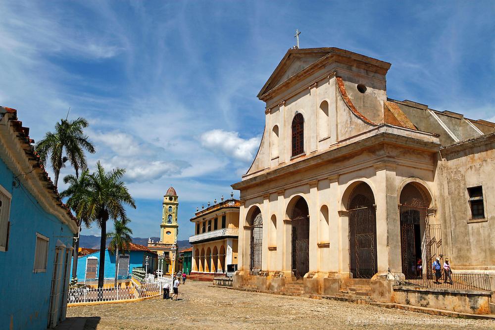 Central America, Cuba, Trinidad. Church of the Holy Trinity overlooking Plaza Mayor in Trinidad, Cuba.