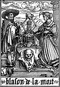 The Arms of Death. From Hans Holbein the Younger 'Les Simulachres de la Mort' (Dance of Death, Totentanz).  Series  of illustrations following the tradition of medieval morality plays . Woodcut 1538
