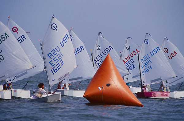 Stock photo of sailboats participating in a race
