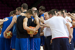 Serbian players and coach Dusan Ivkovic at practice of Serbian National Basketball team in Arena Torwar two days before the beginning of the Eurobasket 2009, on September 05, 2009 in Warsaw, Poland. (Photo by Vid Ponikvar / Sportida)