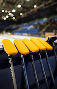 "Glasgow. SCOTLAND.  A set of  Scotlands,  ""Brushes"" used for  ""sweeping"" leaning against a board waiting for the start of the Scotland vs Italy, ""Round Robin"" Game. Le Gruyère European Curling Championships. 2016 Venue, Braehead  Scotland<br /> Wednesday  23/11/2016<br /> <br /> [Mandatory Credit; Peter Spurrier/Intersport-images]"