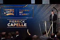 French midfielder Pierrick Capelle of Angers SCO receives the 2015/2016 Trophy for the Most Beautiful Goal in French Ligue 1 Championship during the 25th UNFP (Union National des Footballeurs Professionnels) Trophies 2016 ceremony, on May 8, 2016, at Pavillon Gabriel in Paris, France - Photo Jean Marie Hervio / Regamedia / DPPI