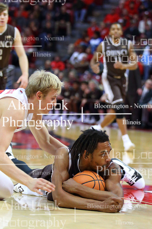 22 November 2017:  Marcus Hinton smothers the ball  during a College mens basketball game between the Quincy Hawks and Illinois State Redbirds in  Redbird Arena, Normal IL
