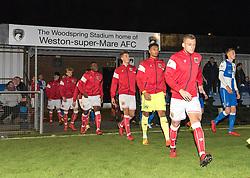 Bristol City U23 walk on to the pitch at Woodspring Stadium - Mandatory by-line: Paul Knight/JMP - 16/11/2017 - FOOTBALL - Woodspring Stadium - Weston-super-Mare, England - Bristol City U23 v Bristol Rovers U23 - Central League Cup