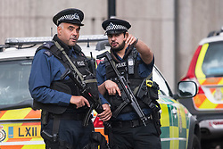 © Licensed to London News Pictures. 07/10/2017. London, UK.  Armed police at the scene of an incident outside the Natural History Museum. Early reports say a man has been arrested after pedestrians were injured in a collision with a car. Photo credit: Ben Cawthra/LNP