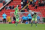 Forest Green Rovers Christian Doidge(9) flicks the ball on during the Vanarama National League match between Gateshead and Forest Green Rovers at Gateshead International Stadium, Gateshead, United Kingdom on 18 February 2017. Photo by Shane Healey.