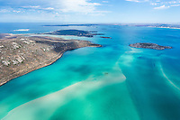 Aerial view of the Langebaan Lagoon looking northwards over Schaapen and Malgas Islands and with Saldahna in the background. West Coast National Park, Western Cape, South Africa