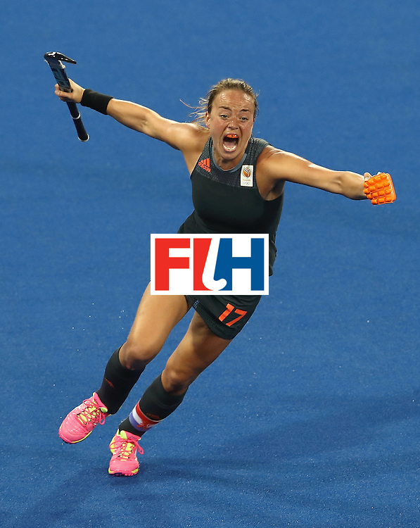 RIO DE JANEIRO, BRAZIL - AUGUST 19:  Maartje Paumen of Netherlands celebrates scoring her sides third goal during the Women's Gold Medal Match against the Netherlands on Day 14 of the Rio 2016 Olympic Games at the Olympic Hockey Centre on August 19, 2016 in Rio de Janeiro, Brazil.  (Photo by Mark Kolbe/Getty Images)