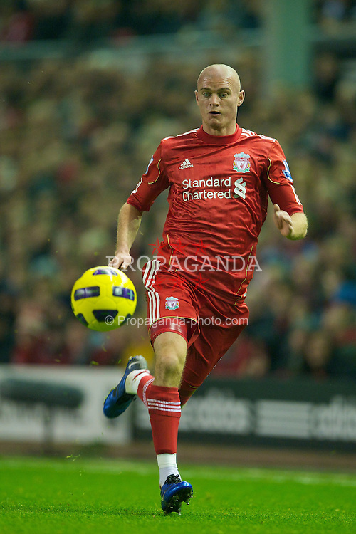 LIVERPOOL, ENGLAND - Saturday, November 20, 2010: Liverpool's Paul Konchesky in action against West Ham United during the Premiership match at Anfield. (Photo by: David Rawcliffe/Propaganda)