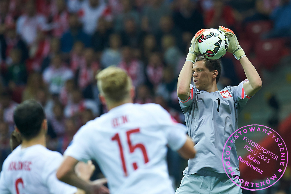 Poland's goalkeeper Wojciech Szczesny in action during the EURO 2016 qualifying match between Poland and Germany on October 11, 2014 at the National stadium in Warsaw, Poland<br /> <br /> Picture also available in RAW (NEF) or TIFF format on special request.<br /> <br /> For editorial use only. Any commercial or promotional use requires permission.<br /> <br /> Mandatory credit:<br /> Photo by &copy; Adam Nurkiewicz / Mediasport
