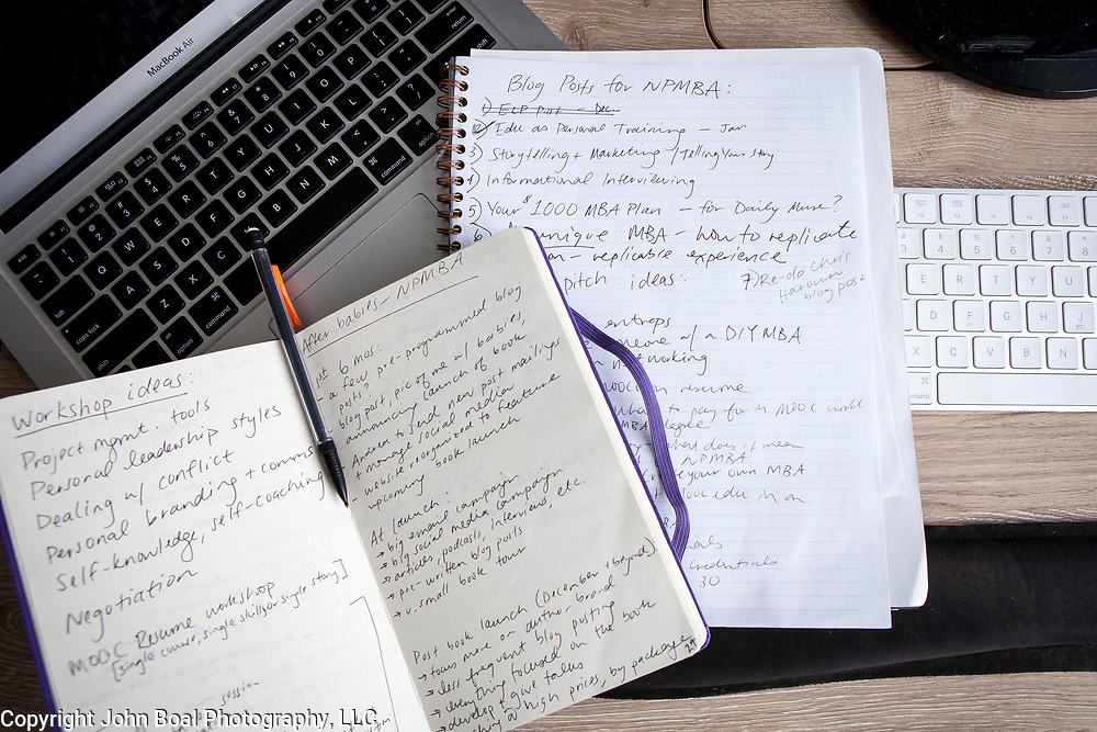 """Laurie Pickard's desk in her Alexandria apartment, on Thursday, August 31, 2017. Pickard earned an M.B.A utilizing free online courses from a variety of prestigious universities. Furthermore, she started a website called nopaymba.com that is a resource for anyone seeking to do the same. Her book, called """"Don't Pay for Your M.B.A"""" will be published in October. CREDIT: John Boal for The Wall Street Journal"""