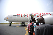 12-03-17   -- LOME, TOGO - Passengers board an Ethiopian Airlines flight at Togo's International Airport in the capital city Lomé on March 17. The airport is also called Gnassingbé Eyadéma International Airport.  Photo by Daniel Hayduk
