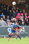 Lyle Taylor forward for AFC Wimbledon (33) in action during the Sky Bet League 2 match between AFC Wimbledon and Crawley Town at the Cherry Red Records Stadium, Kingston, England on 16 April 2016. Photo by Stuart Butcher.