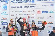 43° Marcialonga Fiemme e Fassa, sci da fondo gara a 70km a tecnica classica,a sinistra Eliassen Petter, Gjerdalen, HoelGaard,31 gennaio 2016 © foto Daniele Mosna