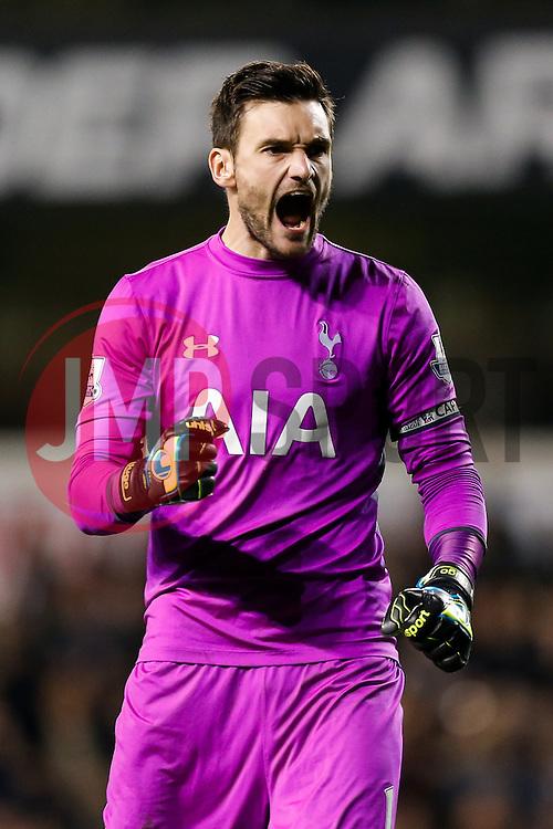 Hugo Lloris of Tottenham Hotspur celebrates after Roberto Soldado scores a goal to make it 2-1 - Photo mandatory by-line: Rogan Thomson/JMP - 07966 386802 - 30/11/2014 - SPORT - FOOTBALL - London, England - White Hart Lane - Tottenham Hotspur v Everton - Barclays Premier League.