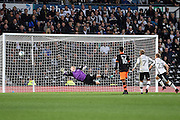 Sheffield Wednesday goalkeeper Cameron Dawson (25) dives for the ball as Derby County forward Matej Vydra (23) shoots wide during the EFL Sky Bet Championship match between Derby County and Sheffield Wednesday at the iPro Stadium, Derby, England on 29 October 2016. Photo by Jon Hobley.