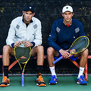 Bob and Mike Bryan in action during a KSwiss photoshoot on Tuesday, Sept. 29, 2015 at Westlake Athletic Club in Westlake Village, CA.