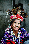 Philippines, Ifugao province. Banaue, Batad and Hapao are tiny villages hidden deep among the famous Ifugao, man-made rice terraces.Elderly Ifugao woman wearing a traditional outfit.
